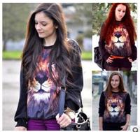Hot sale!!! 2014 new 3D women's hoodies The lion pattern long sleeve hoodies sweatshirts Personality hoody free shipping