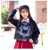 "2014 new autumn and winter women hoodies Harajuku style fashion hoodies sweatshirts ""cat pattern""long sleeve hoody free shipping"