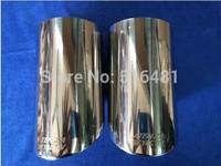 Tip 9.0cm Inlet Silver Stainless Steel Exhaust Resonator Muffler For Mazda