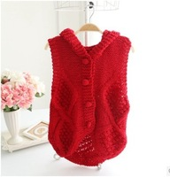Free shipping top brand Hooded handmade crocheted Casual Sleeveless women's Sweater Wholesales