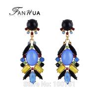 Fashion Colourful Imitation Gemstone Charm Drop Earrings for Women
