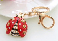 Fashion Korean lovely ladybird ladybug 3D Personality Car Keychain Bag Charm Purse Pendant Keyring key chain wholesale retails