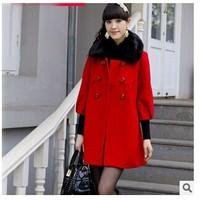 New women's fur collar autumn - winter overcoat outerwear woolen outerwear women coat big size coat women M-5XL size