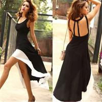 New 2014 Fashion Women Chiffon Dress Backless Swallowtail Dress Hollow Out Patchwork Irregular Dresses Feniminos Vestido 2503