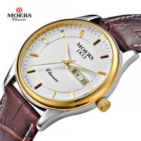 2014 New design Moers MJ-8010 Genuine Leather thin Business casual quartz wristwatch men luxury brand watches