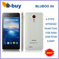 "Original BLUBOO X4 Smart Phone 4G LTE 4.5""IPS Screen MT6582 Quad Core 1GB RAM Android Kitkat 4.4 8.0MP Camera WCDMA 3G GPS"