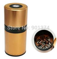 COHIBA Rose Golden Cylindrical Cigar Hydrating Tube Humidor Jar W/Hygrometer -free shipping