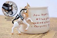 2014 new Fashion black and white horse horses animal 3D Car Keychain Bag Charm Purse Pendant zinc alloy Keyring key chain