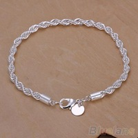 Elegant Silver Plated Twisted Rope Design Bracelet Bangle Chain  1MMT