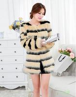 New 2014 Fashion Long Faux Fur Coat Winter Women Leather Slim O-Neck Faux Fur Clothes For Women Hot Sales Free Shipping E 110