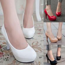 tacones altos para mujer zapatos 2014 nueva patente de cuero de la mujer stilettos bombas tacones señoras oficina plataforma zapatos de baile al por mayor(China (Mainland))