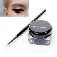 3g Black Waterproof Eyeliner Gel Eye liner Makeup + Brush