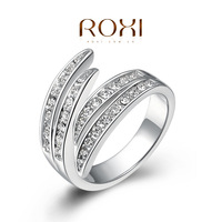 ROXI Fashion Designer 925 Sterling Silver Ring Jewelry For Women Vintage Hug SWR Crystal Wedding Party Ring Gift casado Aneis