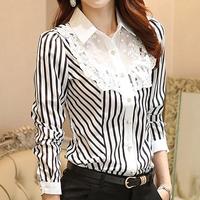 2014 Autumn Women's Blouse Shirt Lace Patchwork Stripe Chiffon Blouse Long-sleeve OL Elegant Top