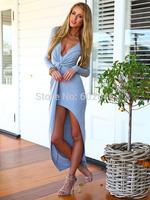 vestidos summer dress 2014 Sexy Deep V-Neck Folds Flouncing Tight Maxi Party Dresses Women desigual Three Color Casual Dress357