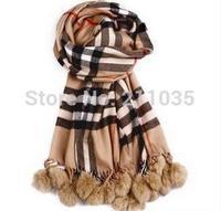 Female autumn winter British style Rabbit Hairball woolen Scarves woman high quality wool warm Shawl R96 A  37