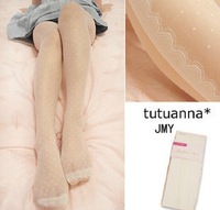 sexy dots tights in women's knee high socks joint stocking women  black coffee skin  white silk stocking lace    L016