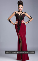 HL-MB0351High Quality Sexy Seen Through Long Sleeve Black Lace Appliques Red Evening Dress vestido longo vestido de festa 2014