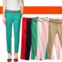 2014 Winter Fashion Women Formal Pants Slim Hemming Trousers Ladies Casual Cargo Capris Solid HHP14911