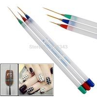 Nail Art Design Decoration Tools DIY Acrylic Drawing Painting Striping UV Gel Pen Brush Set Free Shipping 3pcs/lot