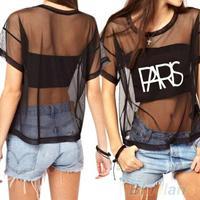 Sexy tshirt Loose Crop Top Blouse Short Sleeve Crewneck See-through  T-Shirt Women Tops   B02