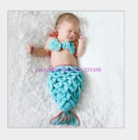 1 Set Infant Baby Handmade Wool Knit Crochet Bubble Sleeping Bags Mermaid Pattern Hat Cap Photography Photo Prop + Bra
