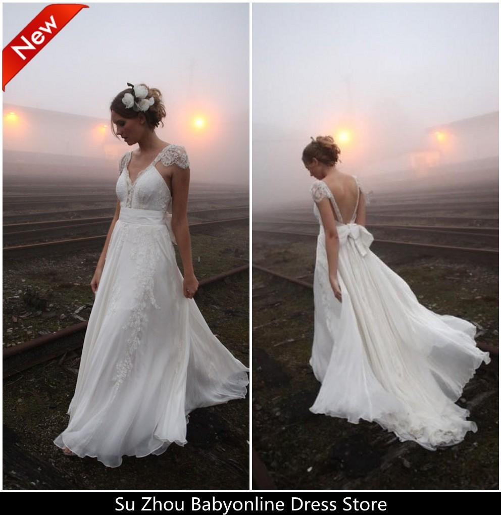 Free Shipping Vestido De Noiva Praia Backless Chiffon Lace Beach Wedding Dresses 2014 Dream Ivory V Neck vestido de casamento(China (Mainland))