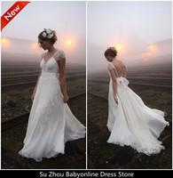 Free Shipping Vestido De Noiva Praia Backless Chiffon Lace Beach Wedding Dresses 2014 Dream Ivory V Neck vestido de casamento