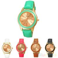 Women's Fashion Rose Gold Plated Faux Leather Band Analog Quartz Wrist Watch  B02