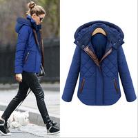 2015 New women winter coat Fashion Plaid Hooded Thick Contrast Color Zipper Slim Coat women warm winter jacket overcoat 2 Colors