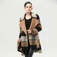 2014 New Fashion Autumn / Winter Women Coat European and American Casual Plaid Woollen Coat Plus Size Overcoat JC050