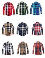 famosa marca de luxo xadrez verificador camisa dos homens manga longa roupas masculinas 2014 qualidade superior tamanho grande