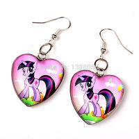 Fashion Brand Children Girls Earrings MY Little Pony Jewelry Earrings Cartoon Birthday Gift for Girls 12pcs/Lot NO.9001059