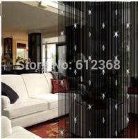 Free Shipping 100*200cm Black sparkle beaded string door window curtain