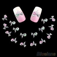 10pcs Bowknot Design Crystal Nail Art Studs Manicure Tips Rhinestones nail gel B02