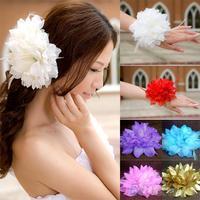 Bridal Wedding Party Flower Fascinator Elastic Pin Hair Wrist Corsage Brooch Headband Women B02