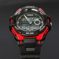 OHSEN Optimus Prime Red Mens Day Date Alarm Stopwatch Chronograph Analog Digital Quartz Rubber Band Wrist Watch W081