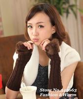 Autumn and Winter Long Warm Knitted  Imitation Rabbit Fur Women Wool Gloves Half-finger Winter Gloves for Women