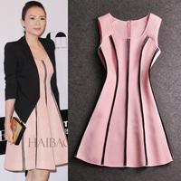 2014 Cute Pink Dress Patchwork Sleeveless Sweet Dress High Quality Dress Fashion Design Autumn Dress Factory Dropshipping