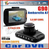 G90 Ambarella A7 Car DVR G90 Car Black Box Full HD 1920 x 1080P 2.7 Inch LCD 170 Degree Lens IR night Vision H.264 HDMI Camera