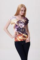 Drop Shipping 3D Hero Catwoman Digital Print Wholesale Casual Tops Loose Tee  Women's t-shirts Camiseta Feminina Heroism