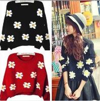 Korea Women Knitted Sweater Jumper Flower Pullover Top Round Neck Long Sleeve