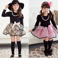 Free shipping Girls Classical British Style Princess Dress Children Long Sleeve Polka Dots Bow Dress