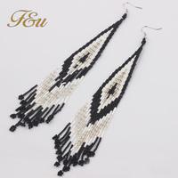 Hot Sale Bohemia Style Black and White Beaded Earrings Fashion Jewelry Elegant Earrings  #1467