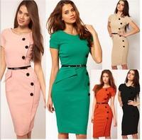 7 Colors Button Knee-Length Elegant Pencil Dress 2014 Top Fashion Women Work Wear Office Dress Bodycon Casual Dress CD1321