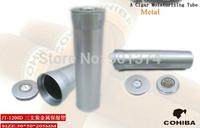 COHIBA original color Titanium Alloy Cigar Tube Jar Holder with Humidifier Hygrometer-free shipping