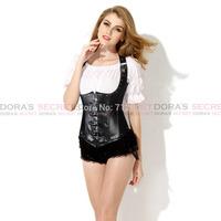 Sexy New Fashion Gothic Women Black Faux Leather Underbust Corset Bustier Waist Training Bondage Fetish Goth Club Rave