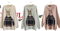 long sleeve sweaters for women 2014 Vintage totem loose pullovers short knitwears top Rabbit Sweater RU01