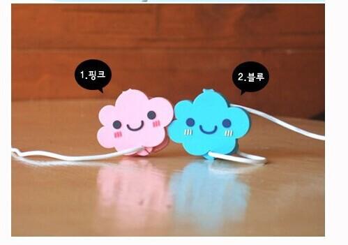 Wholesale Mini headphone winder / Korean couple headphone winder / cute clouds pattern 10piece/lot(China (Mainland))