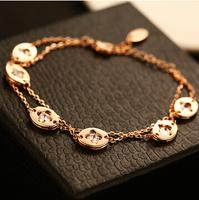 YTSL51 Luxury Fashion Brand Real 18K Rose Gold Plated Women Bracelets Bangles Clover Flowers Beads Hand Chain Cuff Pulseiras